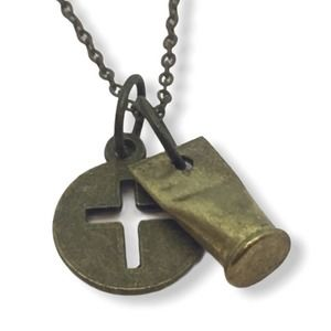 Bullet and Cross Charm Necklace Antique Bronze